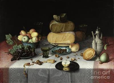 Painting - Still Life With Cheeses 1615  Classic Painting by R Muirhead Art