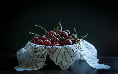 Lace Photograph - Still Life With Cherries by Maggie Terlecki