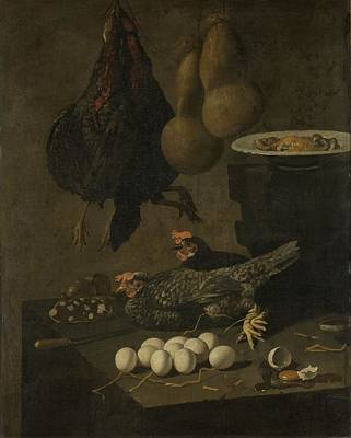 Painting - Still Life With Chickens And Eggs by R Muirhead Art