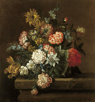Painting - Still Life With Chrysanthemums Morning Glory A Tulip And Other Flowers by Jean-Baptiste Belin
