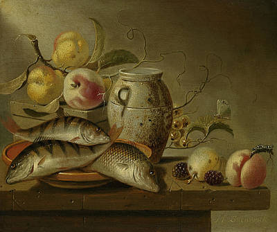 Still Life With Fish Painting - Still Life With Clay Jug, Fish And Fruits by Harmen Steenwijck