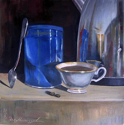 Teapot Painting - Still Life With Coffee Beans by Eleonora Mingazova