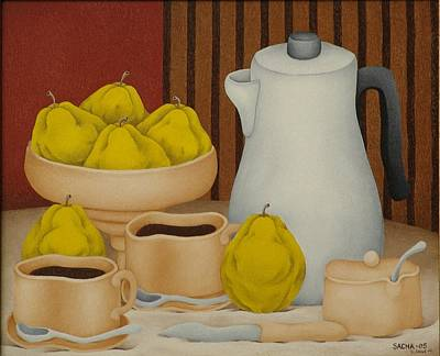 Sacha Painting - Still Life With Coffee Pot  2005 by S A C H A -  Circulism Technique