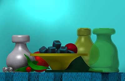 Fruit Digital Art - Still Life With Cubes by Alberto RuiZ