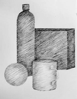 Still Life Drawings - Still Life with Cup Bottle and Shapes by Michelle Calkins