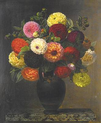 Dahlias Painting - Still Life With Dahlias by Celestial Images