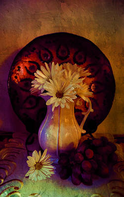 Acrylic Photograph - Still Life With Daisies And Grapes - Oil Painting Edition by Lilia D