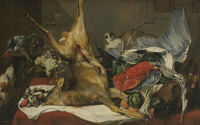 Painting - Still Life With Dead Game, A Monkey, A Parrot, And A Dog by Frans Snyders