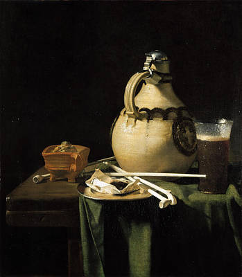 Painting - Still Life With Earthenware Jug And Clay Pipes by Pieter van Anraedt