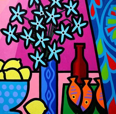 Lemon Painting - Still Life With Egyptian Curtain  by John  Nolan