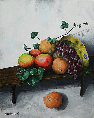 Still Life With Falling Orange Original by Kenny Noorlander