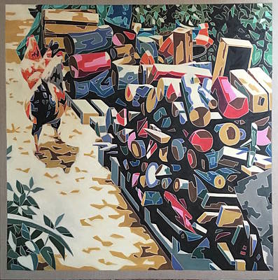 Painting - Still Life With Firewood And Rooster by Varvara Stylidou