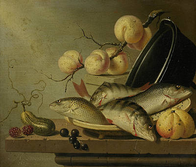 Still Life With Fish And Fruits Art Print