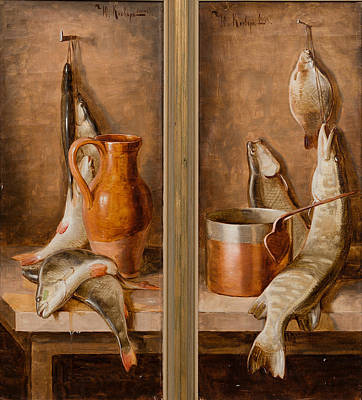 Still Life With Fish Painting - Still Life With Fish by Juli Julievich Klever