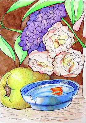 Still Life Drawings - Still Life with fish by Loretta Nash