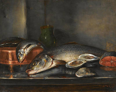 Painting - Still Life With Fish by Nikolaos Vokos
