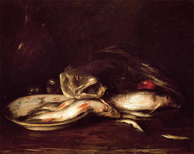Still Life With Fish Painting - Still Life With Fish by William Merritt Chase