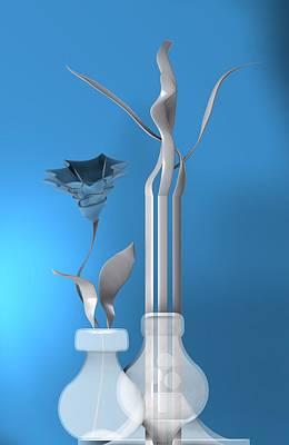 Sphere Digital Art - Still Life With Flower Over Blue by Alberto RuiZ