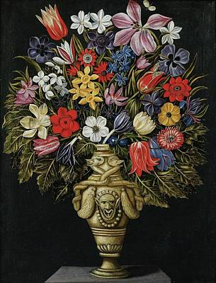Grotesque Painting - Still Life With Flower Vase by MotionAge Designs