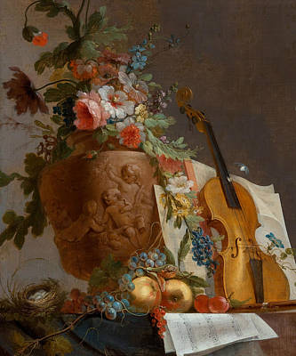 Still Life With Flowers And A Violin Art Print by Jean-Jacques Bachelier