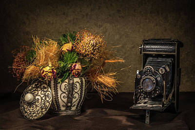 Still Life With Flowers And Camera Art Print