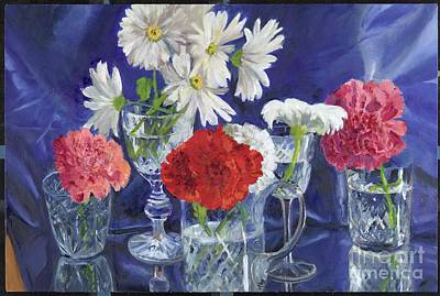 Wall Art - Painting - Still Life With Flowers And Crystal by Katherine Farrell