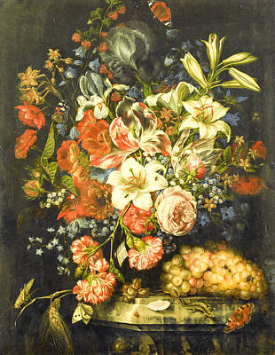 Still Life With Flowers And Fruit 2 Art Print