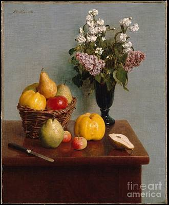 Life Painting - Still Life With Flowers And Fruit  by Celestial Images