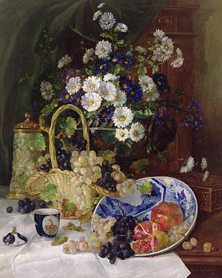 Tankard Painting - Still Life With Flowers And Fruit by Eugene Henri Cauchois