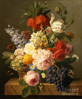 Still Life With Flowers And Fruit Art Print by Jan Frans van Dael