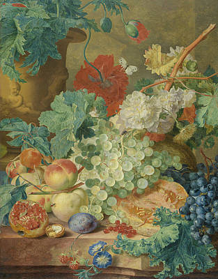 Painting - Still Life With Flowers And Fruits by Jan van Huysum