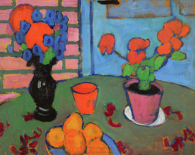Expressionist Painting - Still-life With Flowers And Oranges by Alexej von Jawlensky