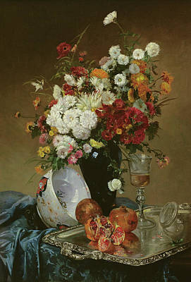 Still Life With Flowers And Pomegranates Art Print