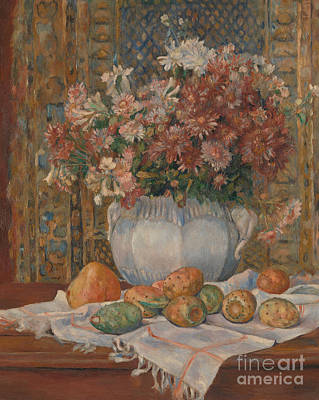 Still Life With Flowers And Prickly Pears, 1885 Art Print