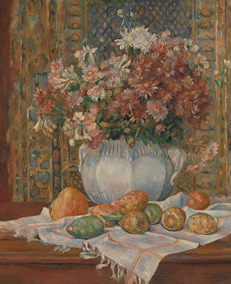 Still Life With Flowers And Prickly Pears Art Print