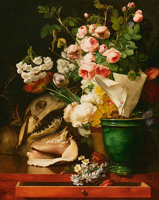 Sharks Painting - Still Life With Flowers by Antoine Berjon