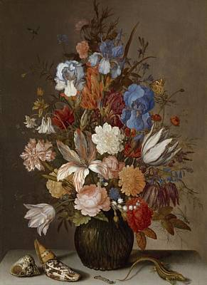 Balthasar Painting - Still Life With Flowers, Balthasar Van Der Ast, C. 1625 - C. 1630 by Celestial Images
