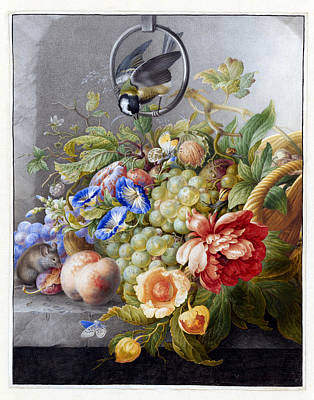 Still Life With Flowers, Fruit, A Great Tit And A Mouse Art Print by Ruth Moratz