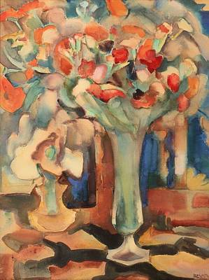 Interior Still Life Painting - Still Life With Flowers In A Glass Vase by Mountain Dreams