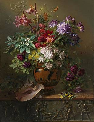 Life Painting - Still Life With Flowers In A Greek Vase, Allegory Of Spring, Georgius Jacobus Johannes Van Os, 1817 by Celestial Images