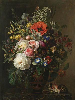 Painting - Still Life With Flowers In A Greek Vase by Johan Laurentz Jensen