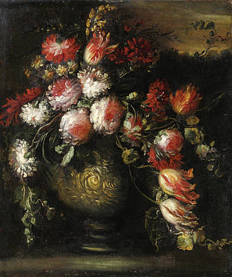 Margherita Painting - Still Life  With Flowers In A Vase by Margherita Caffi