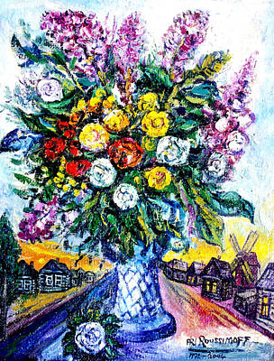 Roussimoff Wall Art - Painting - Still Life With Flowers In Russian Village by Ari Roussimoff