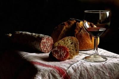 Still Life With Food And Wine L B Art Print by Gert J Rheeders