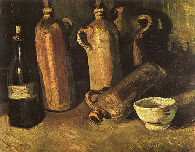 Stylized Beverage Painting - Still Life With Four Stone Bottles, Flask And White Cup, 1884 by Vincent Van Gogh