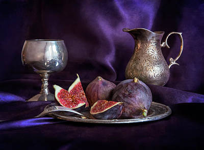 Still Life With Fresh Figs And Metal Dishes Art Print by Jaroslaw Blaminsky