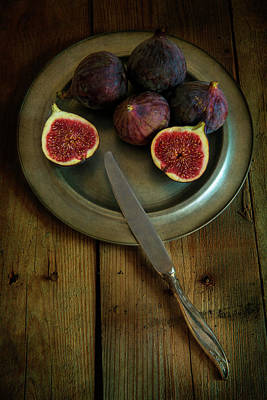Still Life With Fresh Figs On A Silver Plate Art Print