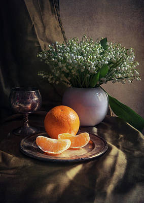 Art Print featuring the photograph Still Life With Fresh Flowers And Tangerines by Jaroslaw Blaminsky