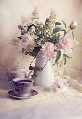 Still Life With Fresh Flowers And Tea Set Art Print
