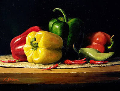 Painting - Still Life With Fresh Peppers by Craig Shillam